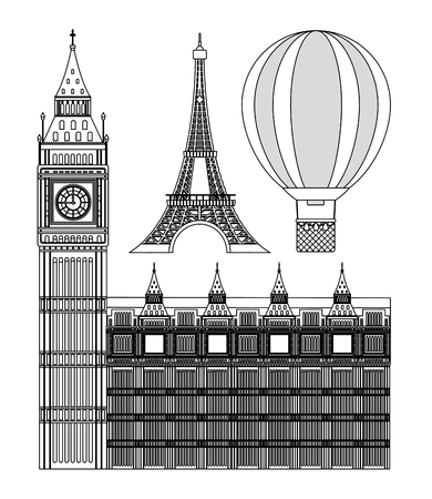 Set of europe monuments collection vector illustration graphic dsign