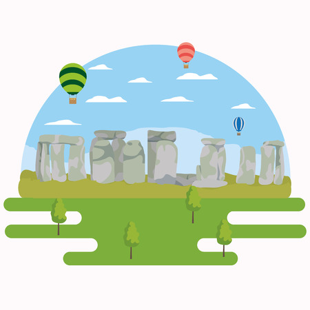 Europe stonehenge monuments scenery, vector illustration