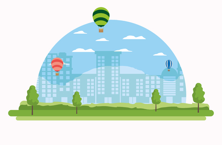 Cityscape and hot air balloons scenery cartoons