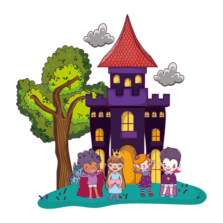 scary castle with funny children costumed Vectores