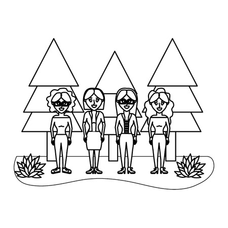 outline cute women friends with pine trees vector illustration Vectores