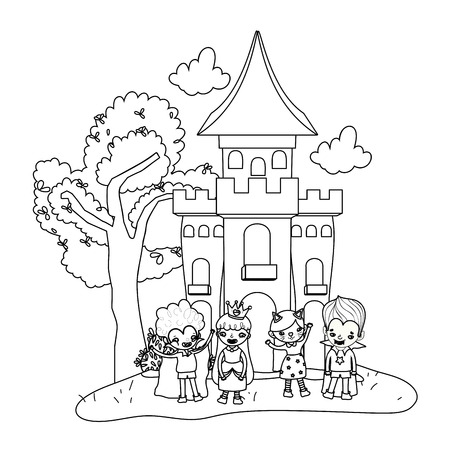 outline scary castle with funny children costumed vector illustration Vectores