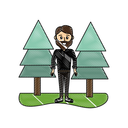 grated man with beard and clothes with pine trees vector illustration