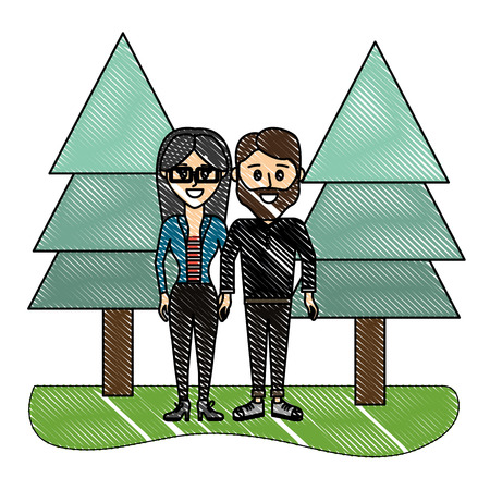 grated nice couple together with pine trees vector illustration