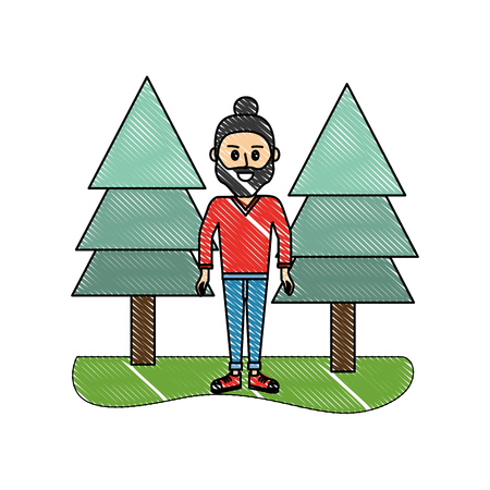 grated happy man with hairstyle and pine trees vector illustration Ilustração