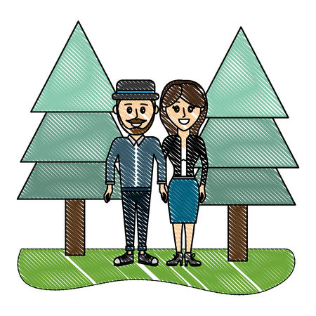 grated beauty couple together with pine trees vector illustration Illustration