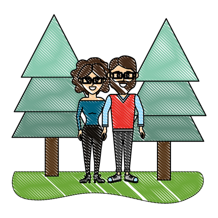 grated woman and man wearing glasses with casual clothes vector illustration