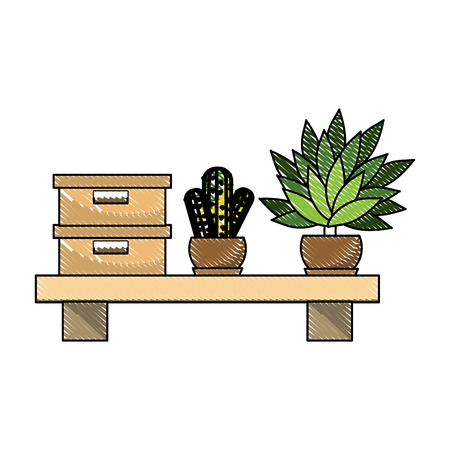 grated box document archive and plants in the wood shelf vector illustration