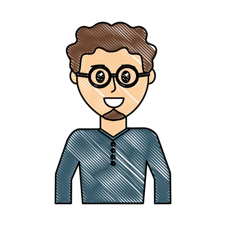 grated happy man wearing glasses with curly hair vector illustration Illustration