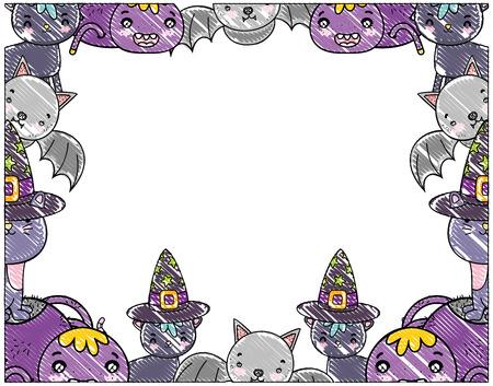 grated cute halloween animals decoration event vector illustration