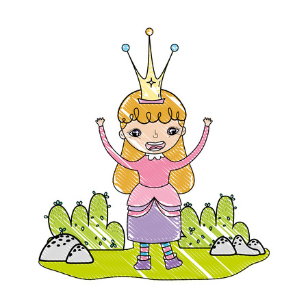 grated funny girl queen costume with crown vector illustration