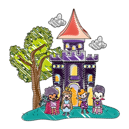 grated scary castle with funny children costumed Vectores