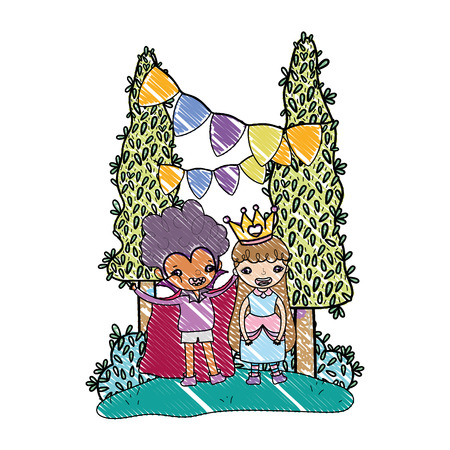 grated boy vampire and girl queen to halloween party vector illustration