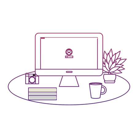 degraded outline office computer with books and coffee beverage vector illustration