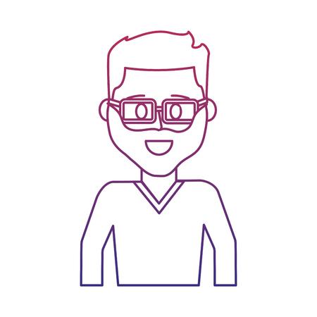 homme heureux contour dégradé avec barbe portant des lunettes vector illustration