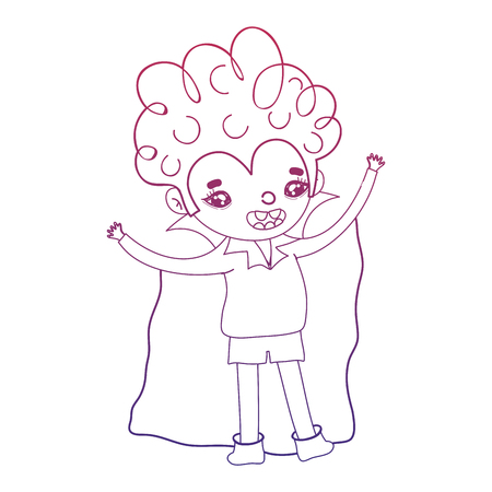 degraded outline boy vampire with cape and curly hair vector illustration