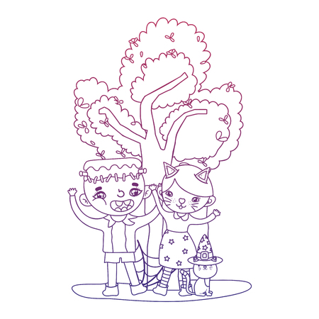 degraded outline boy and girl costume with cat and tree vector illustration