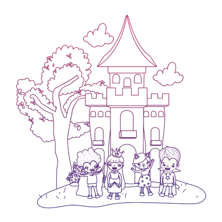 degraded outline scary castle with funny children costumed Vectores