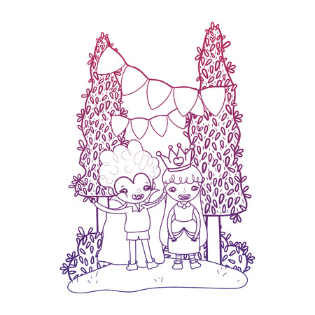 degraded outline boy vampire and girl queen to halloween party vector illustration