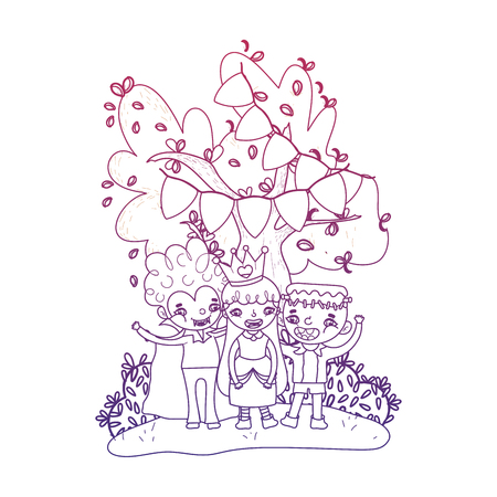 degraded outline happy children friends with halloween costumes vector illustration