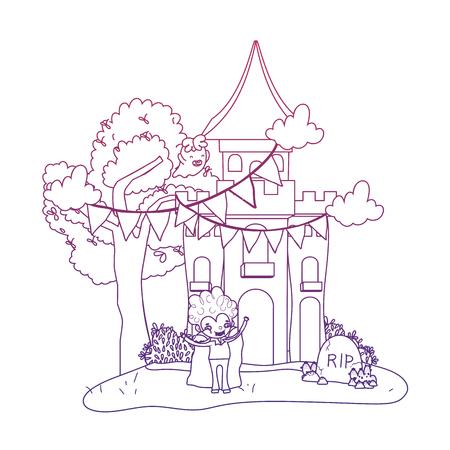 Château effrayant de contour dégradé avec vampire garçon et costume d'halloween