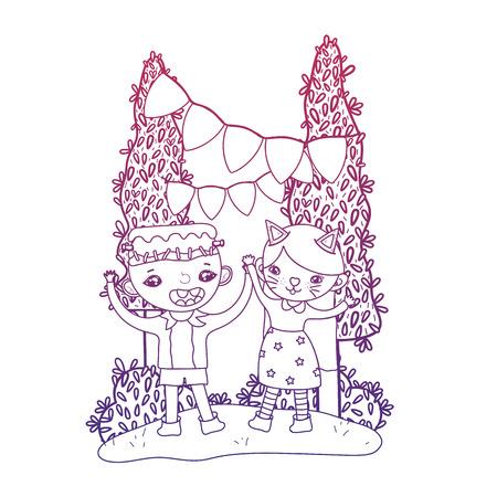 degraded outline boy frankenstein and girl kitten to halloween party vector illustration Illustration