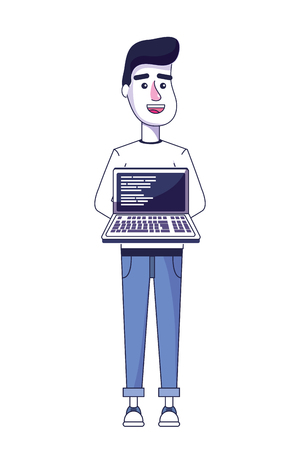 nice man with laptop and code programing vector illustration