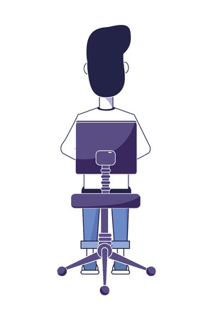 back man sitting in the chair with casual clothes vector illustration