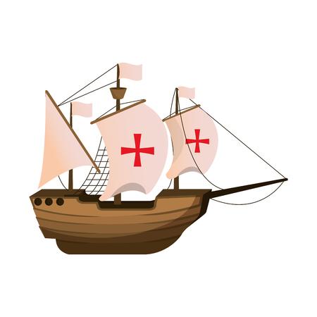 wood ship transport navigation explore vector illustration
