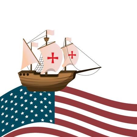 ship navigation transport with usa flag vector illustration