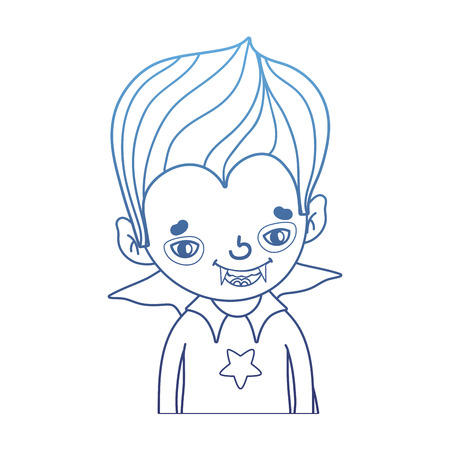 degraded outline boy vampire with teeth and gothic suit vector illustration