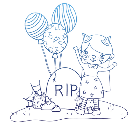 degraded outline girl with kitten costume with rip stone vector illustration
