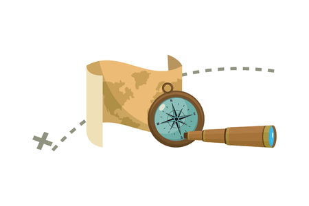map with destination location and compass with monocular vector illustration