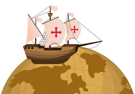 Ilustración de vector de transporte de barco de madera y planeta global Ilustración de vector