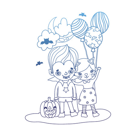 degraded outline girl and boy costumes with balloons and pumpkin vector illustration