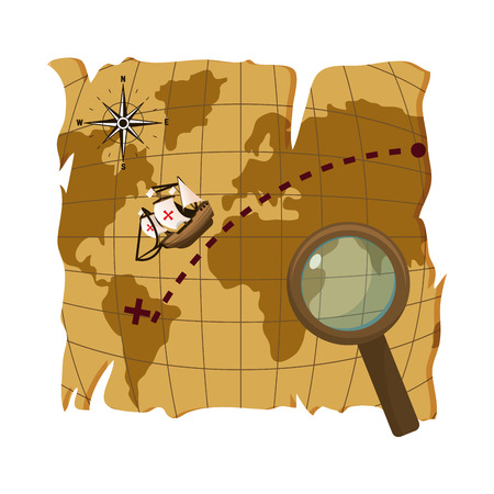 map with ship discovery america and magnifying glass vector illustration
