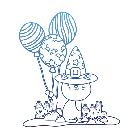 degraded outline nice cat with witch hat and balloons vector illustration