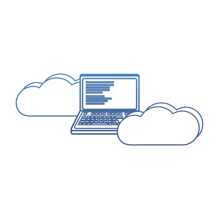 degraded outline data cloud with laptop and code programming vector illustration