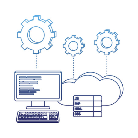 degraded outline computer programming code and cloud data with gears vector illustration