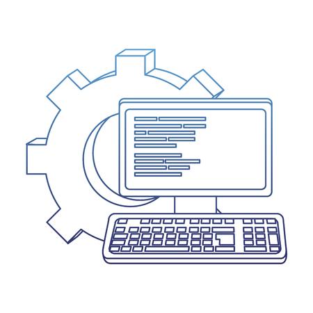 degraded outline computer technology code program and gear vector illustration