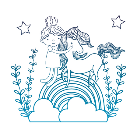 degraded outline beauty hugging unicorn in the rainbow with branches vector illustration