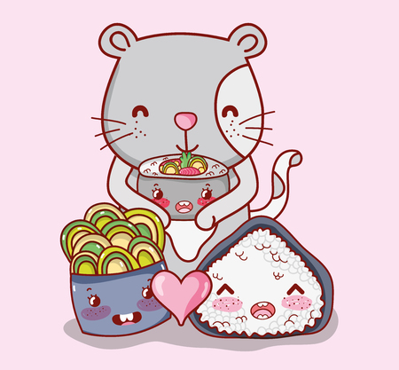 Cat with japanese food kawaii cartoons vector illustration graphic design