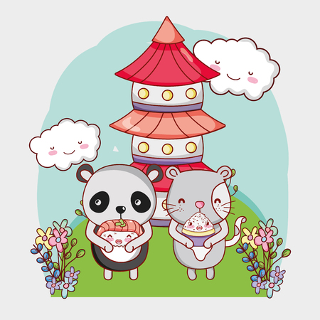 Cat and panda bear with japanese food kawaii cartoons vector illustration graphic design Illustration