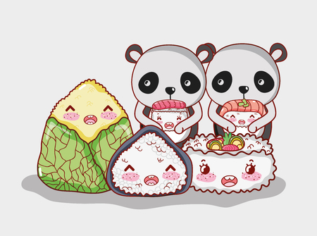 Panda bears with sushi asian food cute kawaii vector illustration graphic design