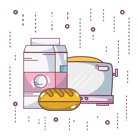 Breakfast milkbox and bread with toaster vector illustration graphic design Ilustrace