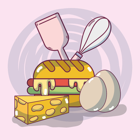 Breakfast sandwich and eggs with cheese vector illustration graphic design