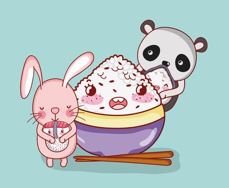 Rabbit and panda bear with japanese food kawaii cartoons
