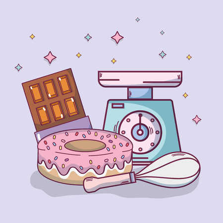 Voedselingrediënten en keukengerei en benodigdheden vector illustratie grafisch ontwerp Vector Illustratie