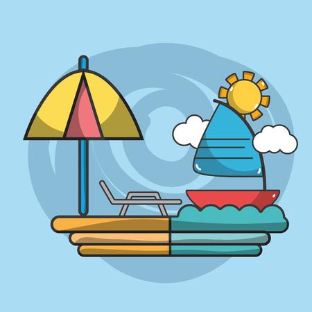 Sailboat navigating on sea at sunny day vector illustration graphic design  イラスト・ベクター素材