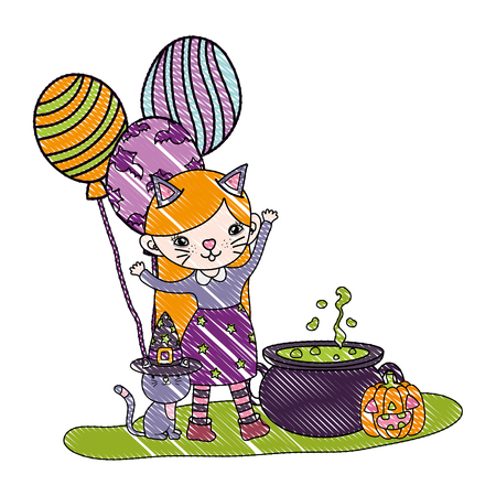 grated girl costumed with balloons and pot cauldron vector illustration